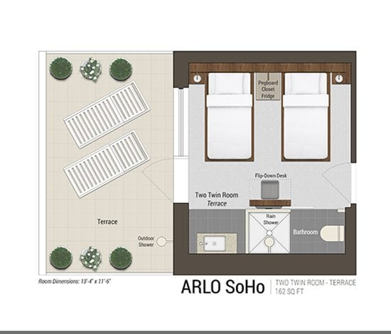 Two Twin Room – Terrace Floor Plan