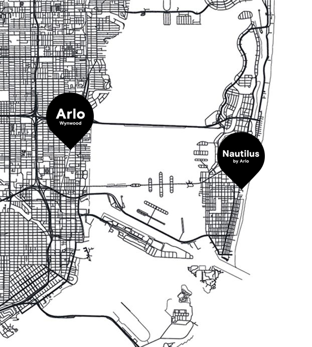 A map of Miami with Arlo Hotels Locations