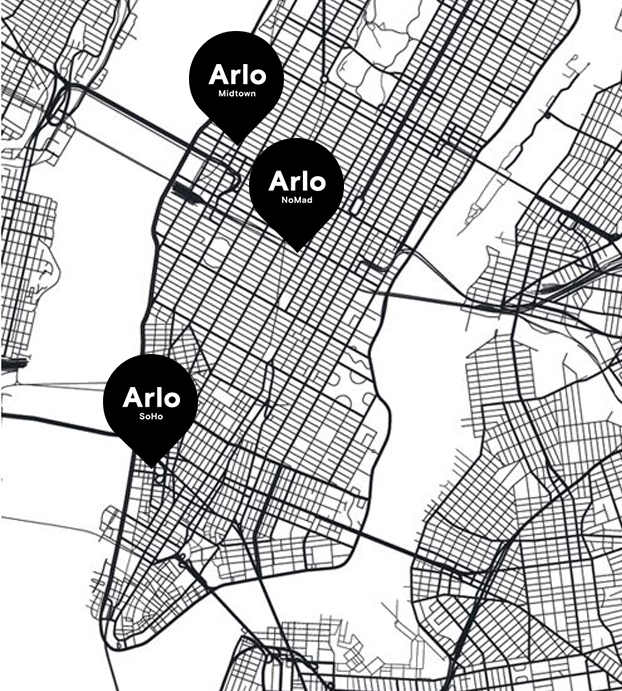 A map of New York city with Arlo Hotels Location