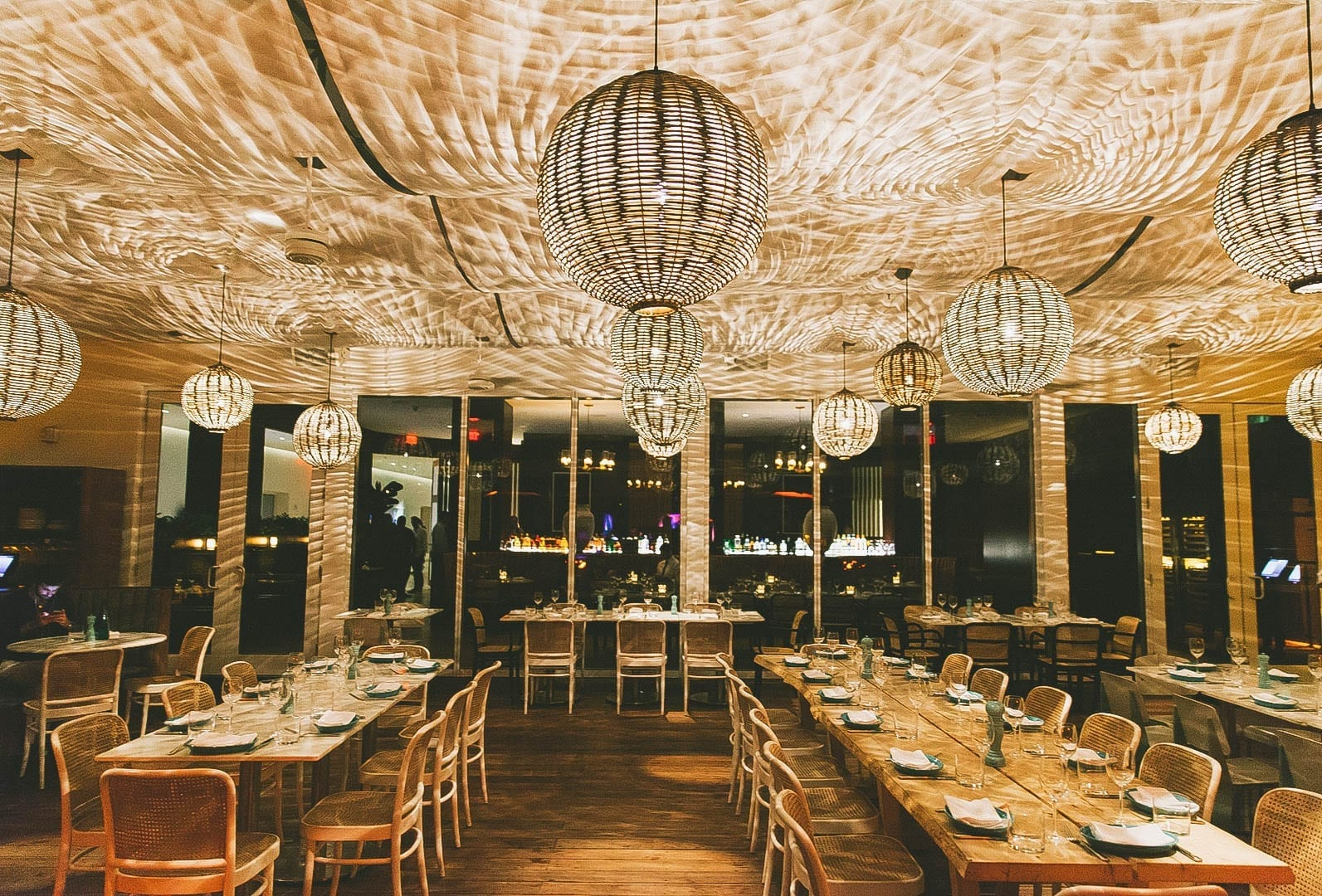 Evening time and inside of restaurant at Nautilus by Arlo Miami