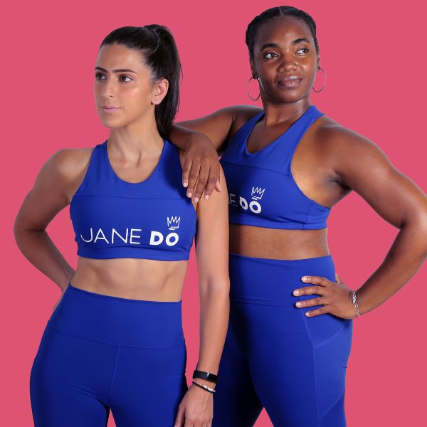 two women in blue fitness gear emblazoned with the Jane DO logo